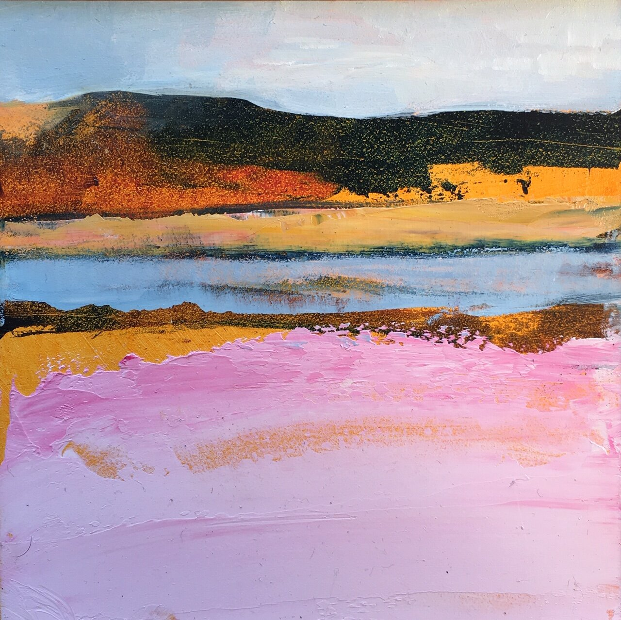 """Dune and Tidal Pool , oil on board, 6"""" x 6"""" framed, $250"""