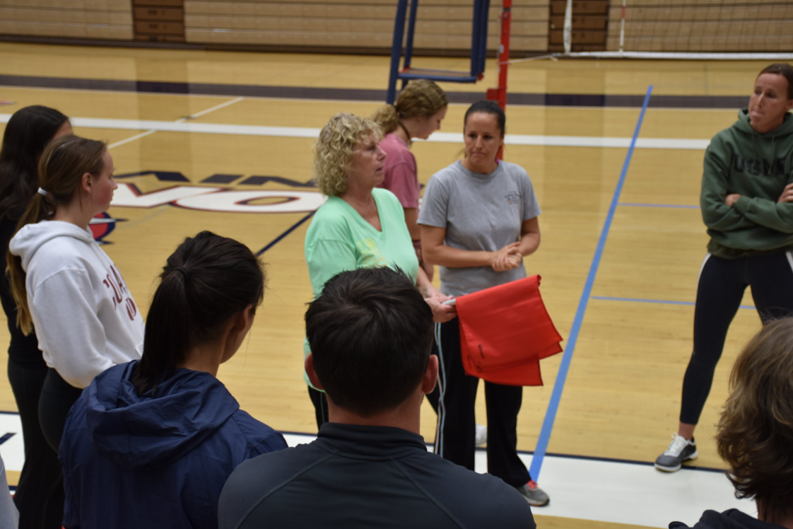 Last year on-court training received positive reviews from our members, and it's back this season, with training specialized for our newer officials, high school refs and our college crew. Here, lead trainer Barb Twohig and assistant Shawna Sheehan lead an on-court session.