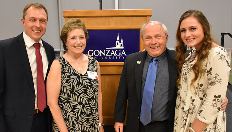 Dale Goodwin pictured with son - Ben, wife - Mary, and daughter - Brooke at the award ceremony.