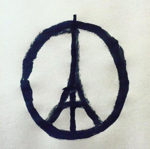 "Illustration by Jean Jullien's ""Peace for Paris"". Poem by Claudia Serea."