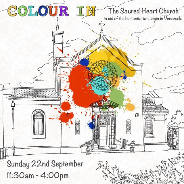 Join me from 11:30am on Sunday 22nd September for 'Colour In The Sacred Heart Church'⛪️👩‍🎨👨‍🎨 A fun colouring event for kids and adults to help raise funds in aid of the humanitarian crisis in Venezuela.  The event also includes face-painting, bric-a-brac sale, raffle prices and much more.  #familyfunday #sundayfunday #declanomearaart #sacredheartchurch #colouring #drawing #painting #oilpastels#fundraiser #venezuela #facepainting #kidsart #spotprizes #corkcity #corkireland #comeoutandsupport