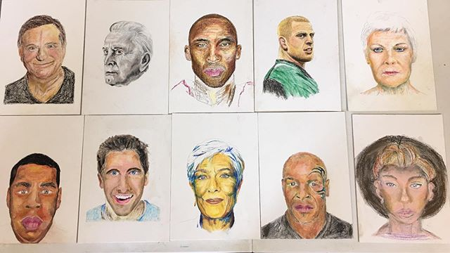 Really proud of the portraits created by my students in today's Oil Pastel workshop @ Ballyphenane Community Centre~ #declanomearaartclasses #beginners #cork #ballyphehane #getcreative #ireland #irishart #artlovers #portraits #oilpastels #sennelier #craypas #declanomearaart #artteacher #students #teachersofinstagram #celebrity #jayz #damejudidench #miketyson #robinwilliams #jakegyllenhaal #pauloconnell
