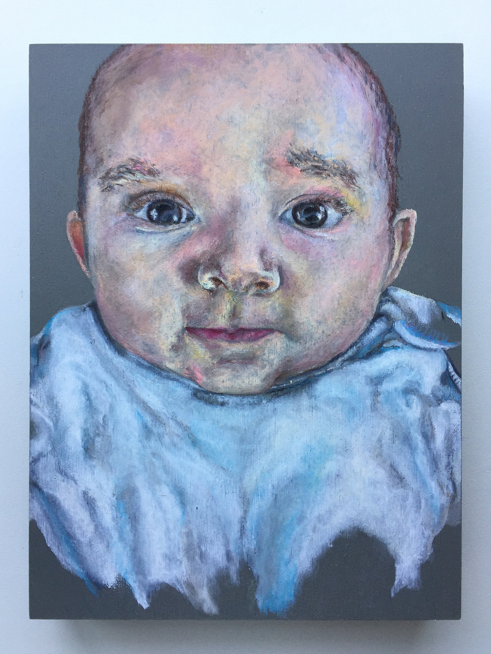 "'BABY JACK'  OIL PASTEL ON PALETTE 9"" X 12""  NOT FOR SALE"
