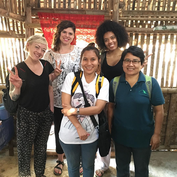 """The amazing Dina and Padkeow with the HAUS delegates Mackenzie, Natalie and Nikki. Dina and Padkeow oversee all of the """"Sexual and Gender Based Violence"""" programming in 3 different refugee camps here in Thailand, including training hairdressers to counsel victims of SGBV. They are also helping us with translating. They are incredibly inspirational and hardworking women."""