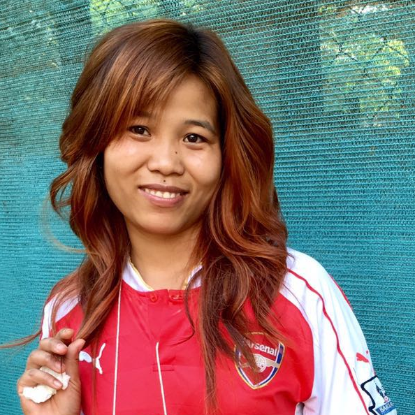 San San Myint with her beautiful new diva hair color by Mackenzie.