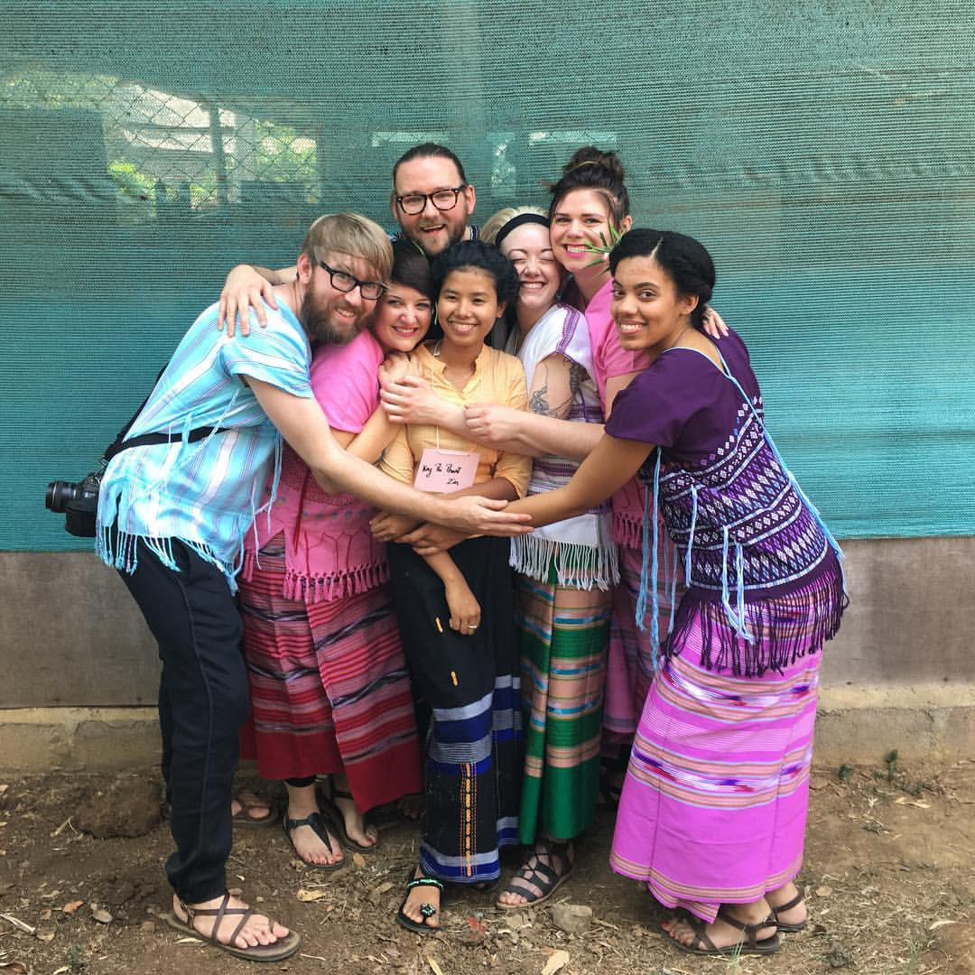 Our translator Kay Thi embraced by Brent, Reilly, Charlie, Mackenzie, Natalie, and Nikki. We love you Kay Thi!