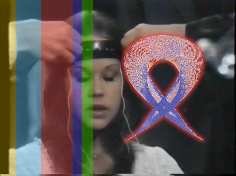 Jacquelene Drinkall,  Hypnosis in Media for Brain Computer Interface , EEG neuroheadset and viewing participant interaction, live video camera, 2015, screen still. My video montage of scenes of hypnosis in video, titled 'Hypnosis in Video', colour, audio, 20 minutes, was made in 2001, and was repurposed for EEG neuroheadset interaction using the Emotiv bio-neuroheadset, with collaborative assistance from computer programmer Warren Armstrong. Shifting mental and emotional states of the viewing participant wearing the bio-neuroheadset are mapped to the shifting 'test pattern bars' of the interactive video, and the brain signals also trigger different thought-forms to appear on the screen - the thought-forms are replaced by a live video camera feed of the viewing participant after a succession of three different coloured thought-forms.