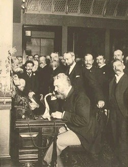 Alexander Graham Bell at the opening of the long-distance line from New York to Chicago   (Library of Congress, 1892).
