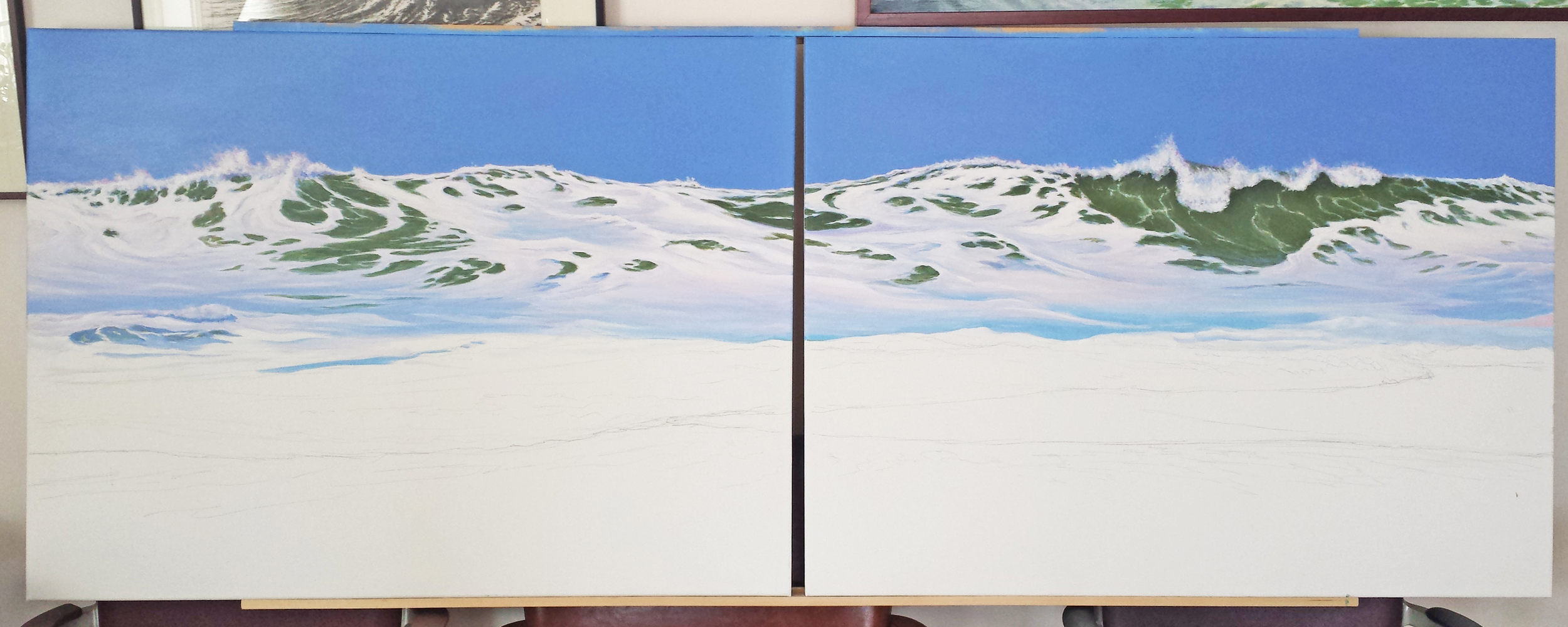 """A wave diptych - each canvas is 30"""" by 40"""""""