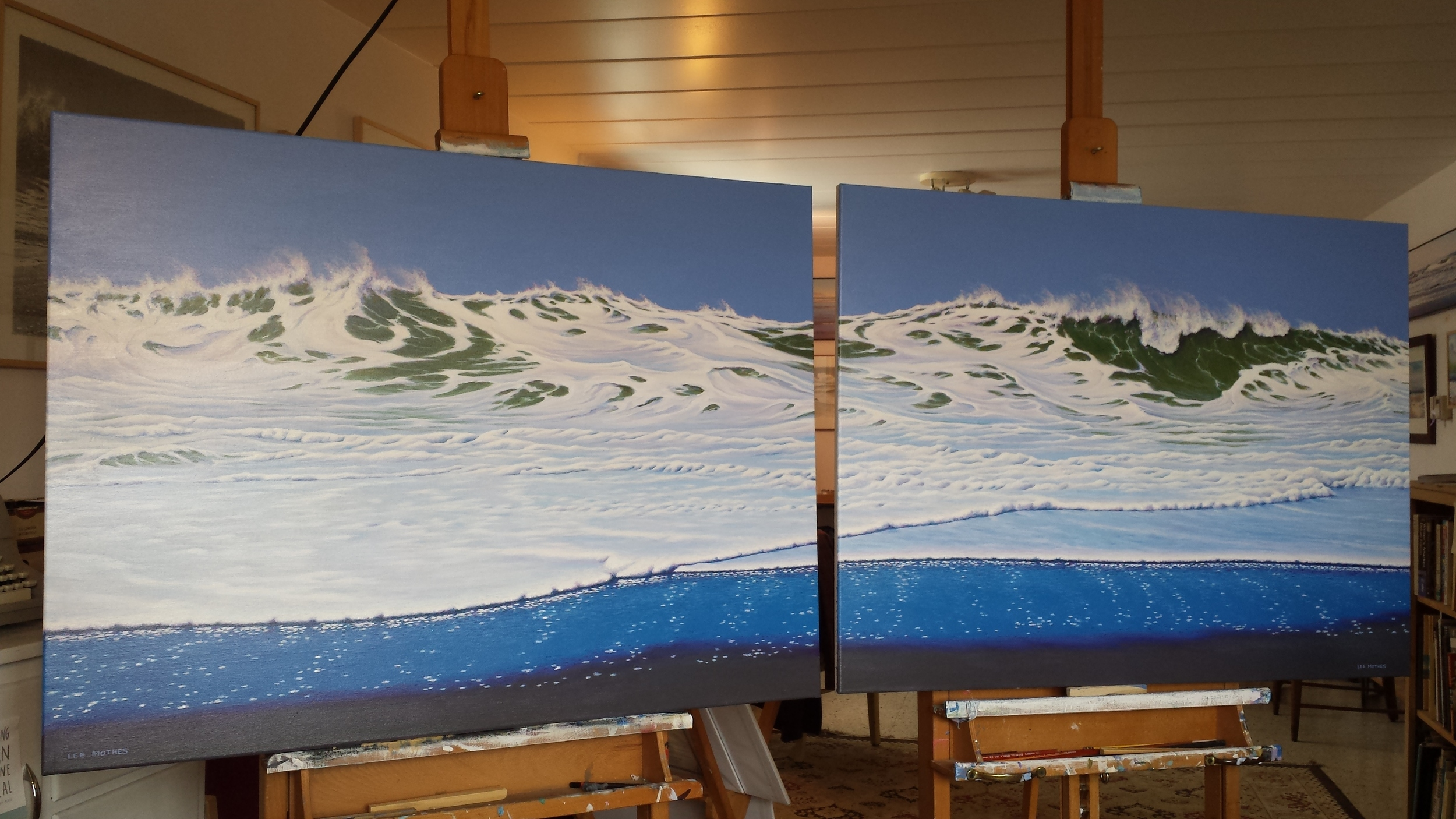 "This 30"" high by 80"" long double acrylic-on-canvas is finished, and is on display in my studio in Kaukauna, Wisconsin."