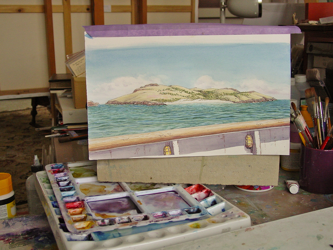 The painting I'll do will be some sort of a seascape-landscape in watercolor.