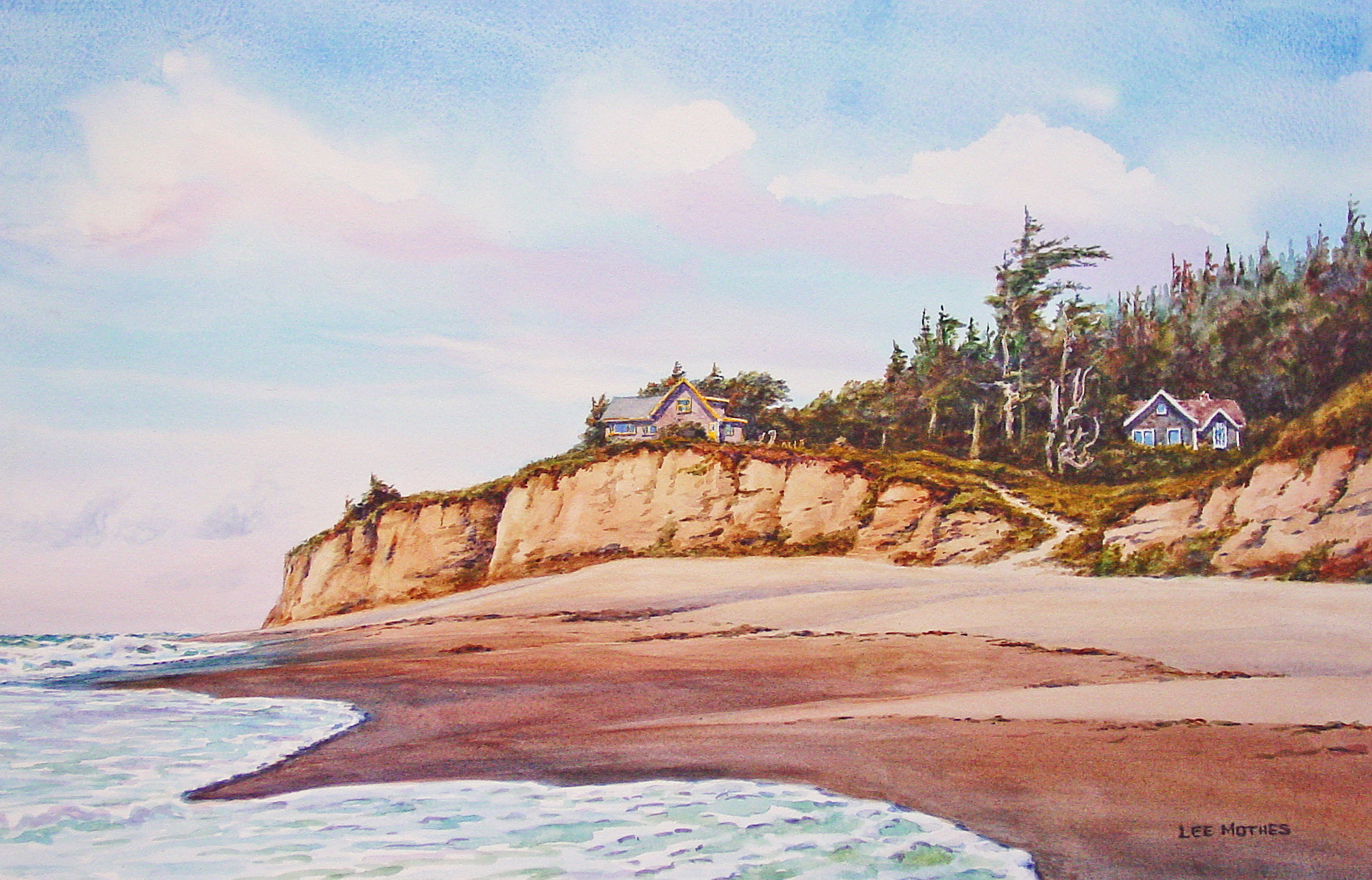 """Big Lagoon Beach, 12"""" by 17"""" watercolor (available)"""
