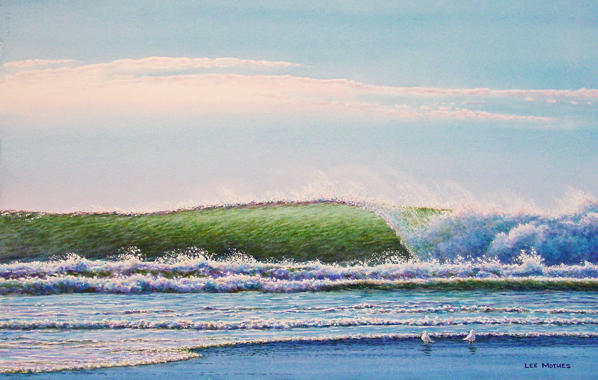 """The Green Wave, watercolor, 14"""" by 19"""" (available)"""