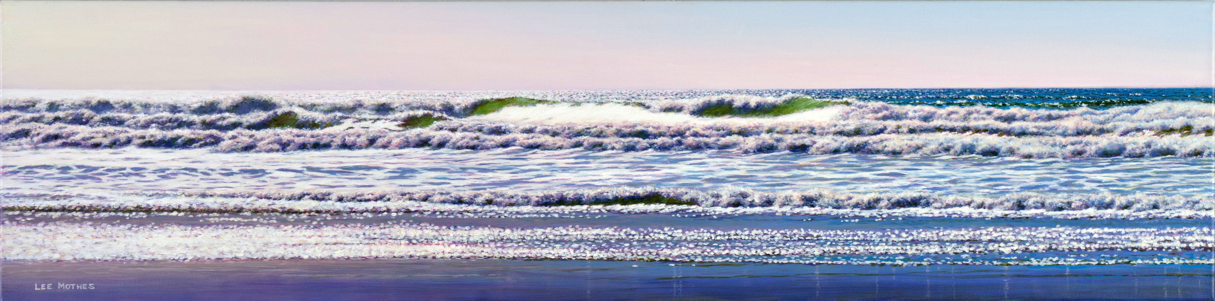 "Long Surf 10 - Oregon Coast,  12"" by 48"" acrylic on canvas  (sold)"