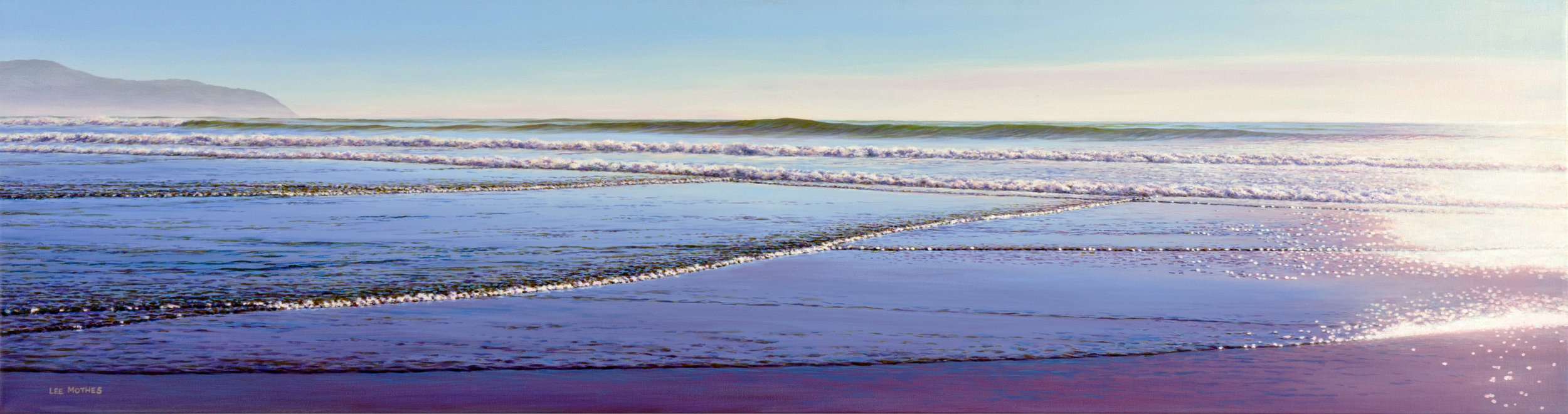 """Long Surf 9 - Afternoon Low Tide, 16"""" by 60"""" acrylic on canvas (available)"""