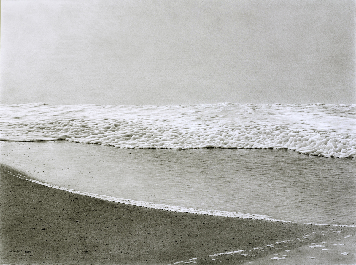 "Fog, Sand and Foam, 22"" by 30"" graphite pencil drawing (available)"