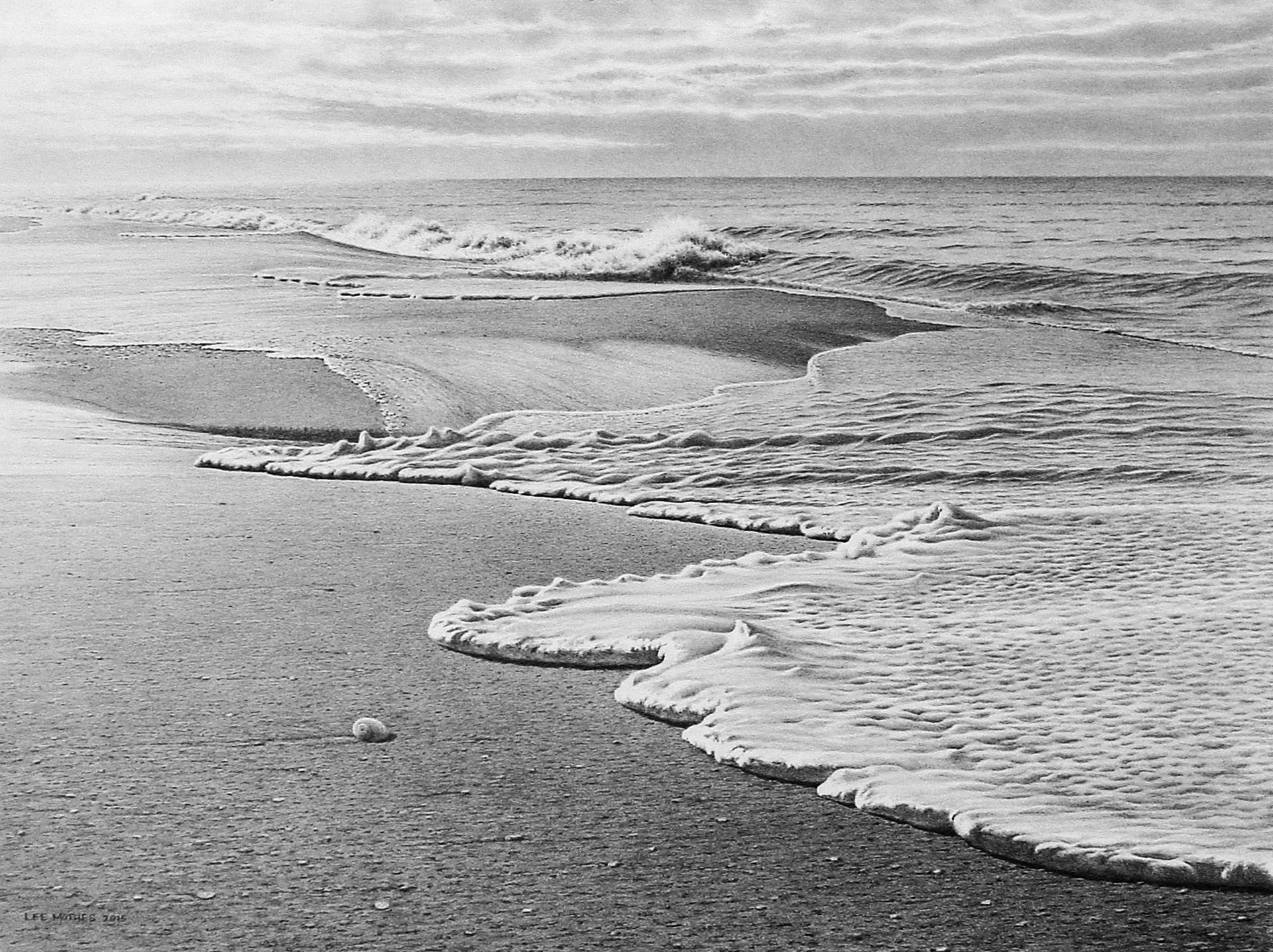 """Sublime Surf, 22"""" by 30"""" graphite pencil drawing (sold)"""