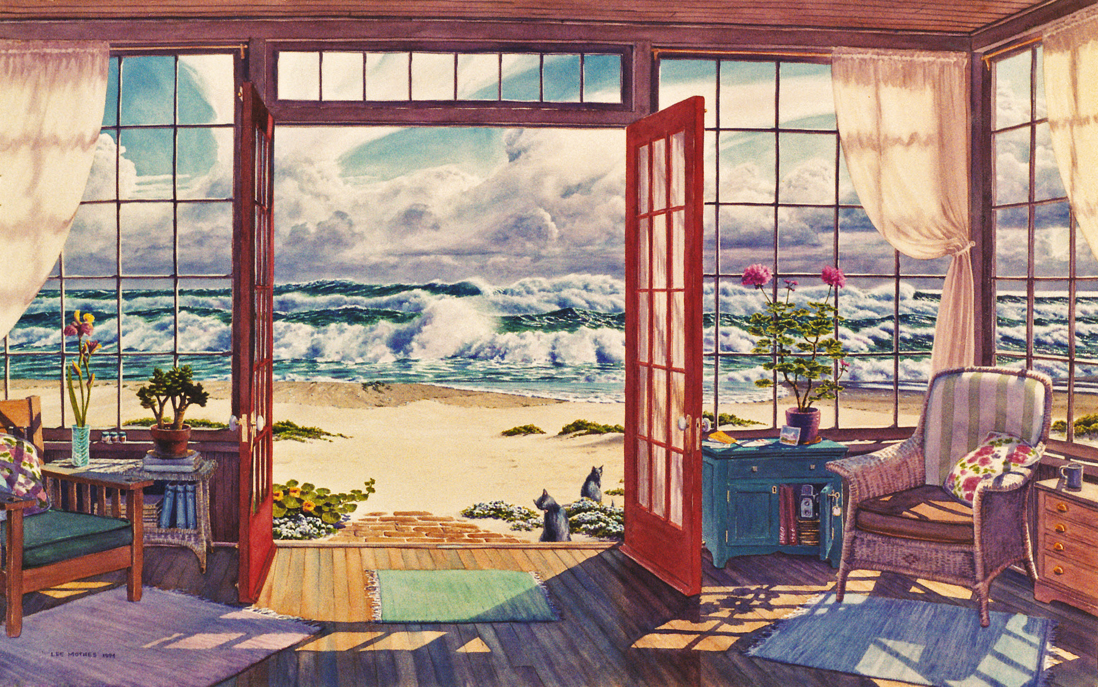 "Porch on a Pale Day, 26"" by 40"" watercolor, 1994, private collection"