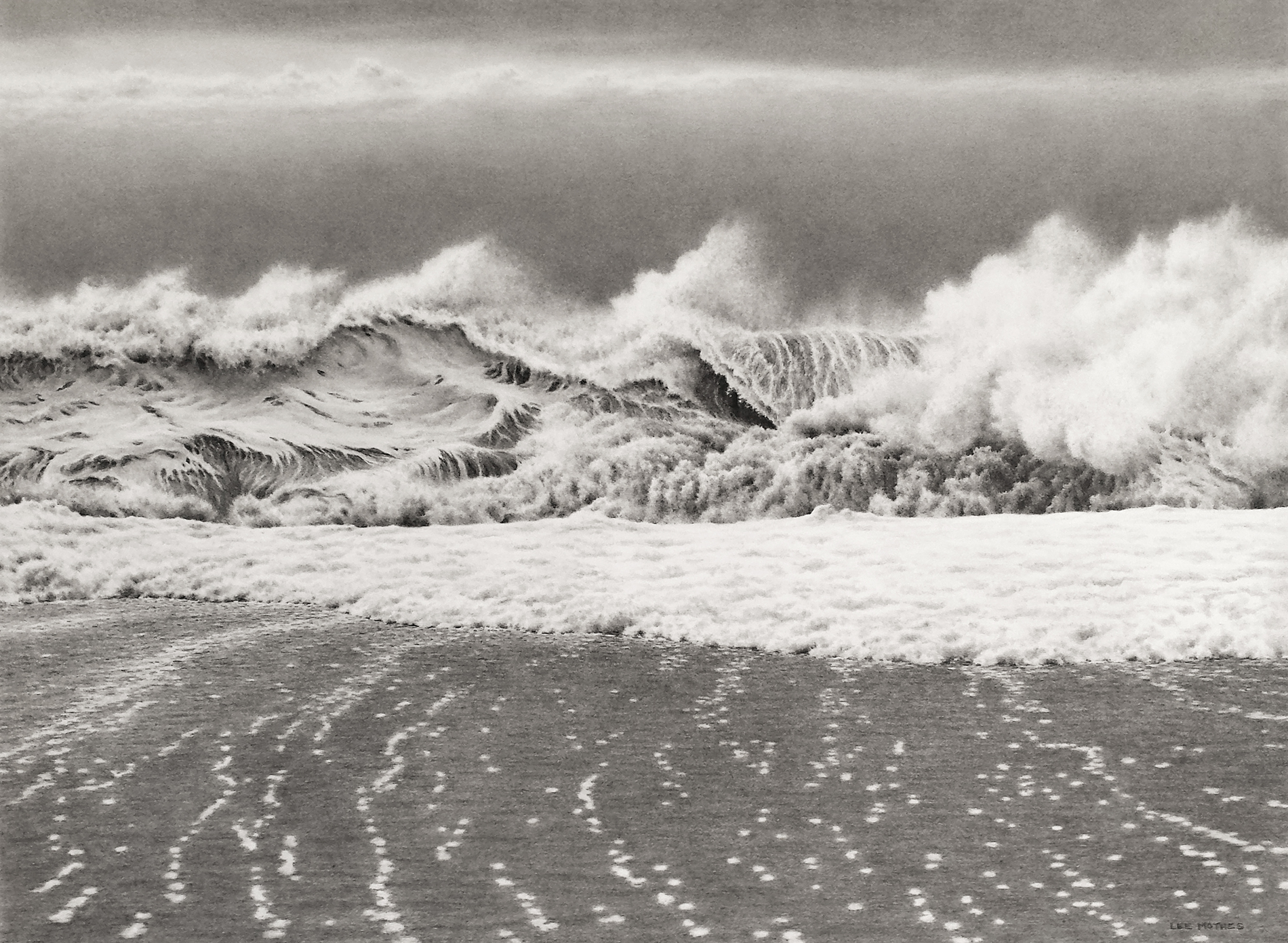 """Crash and Flow, 22"""" by 30"""" graphite pencil drawing (available)"""