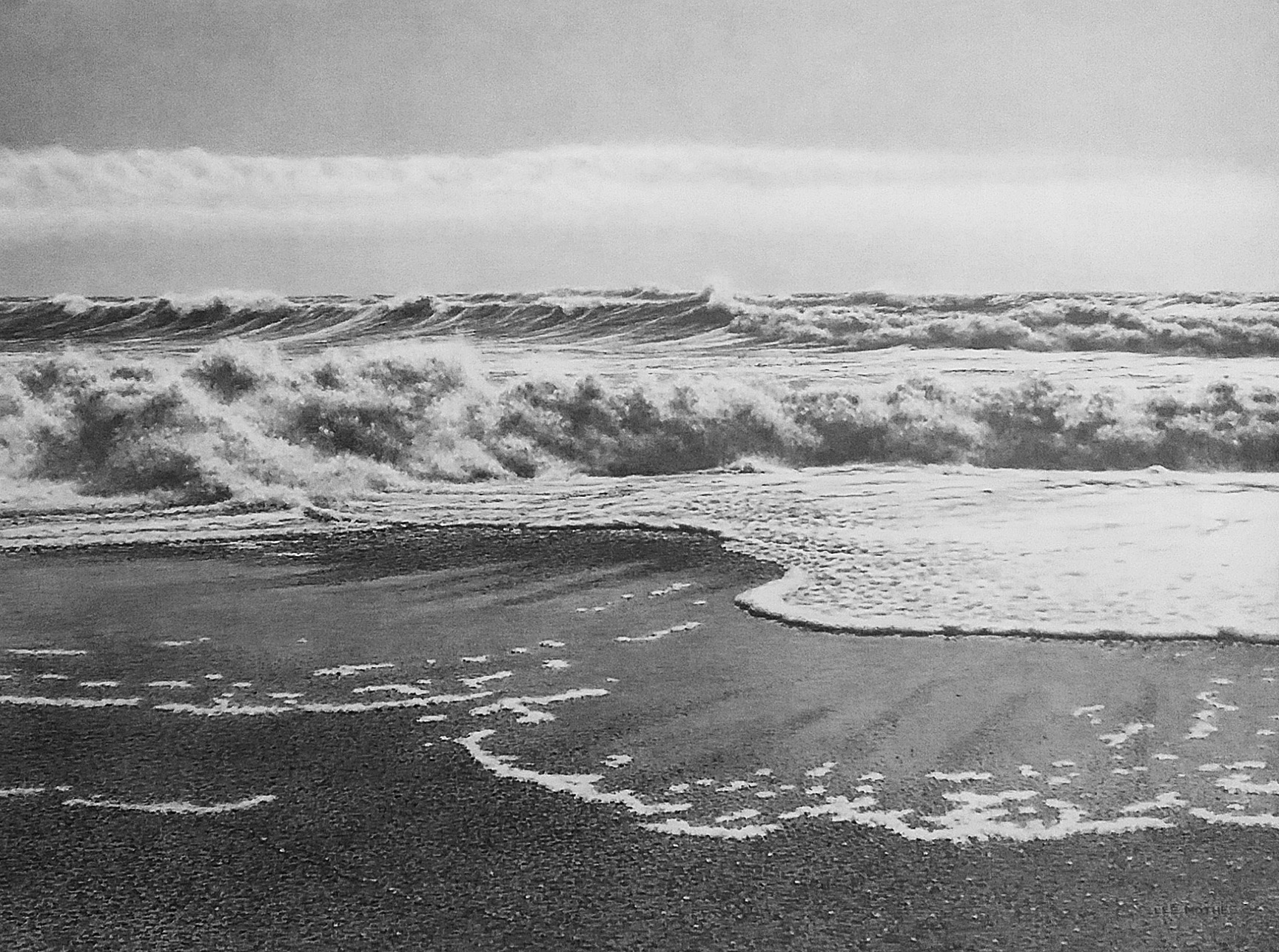 """Retreat"" , 22"" by 30"" pencil on rag paper (from Mad River Beach, Humboldt County)"