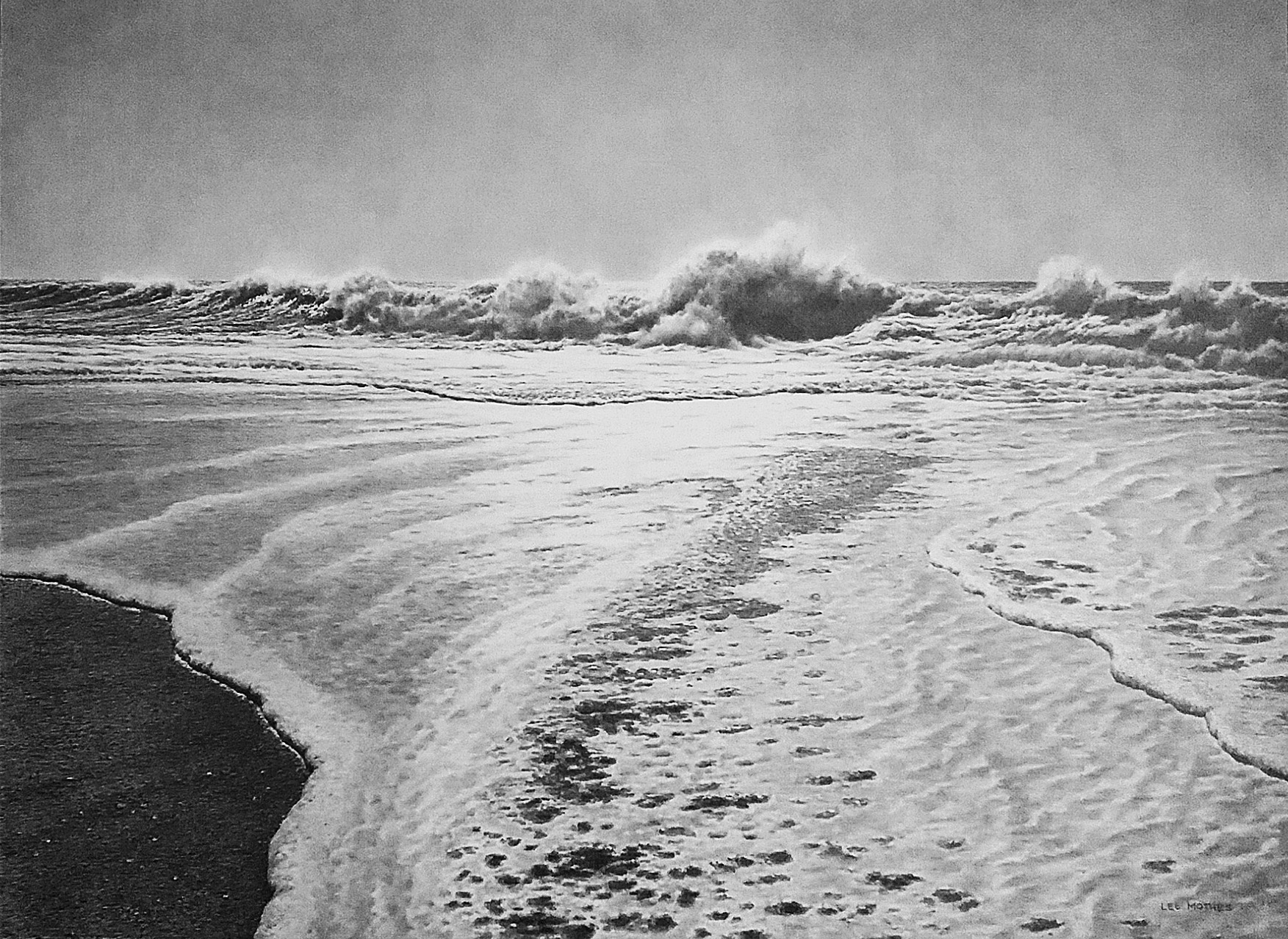 """Advance"" , 22"" by 30"" pencil on rag paper (from Big Lagoon Beach, Humboldt County)"