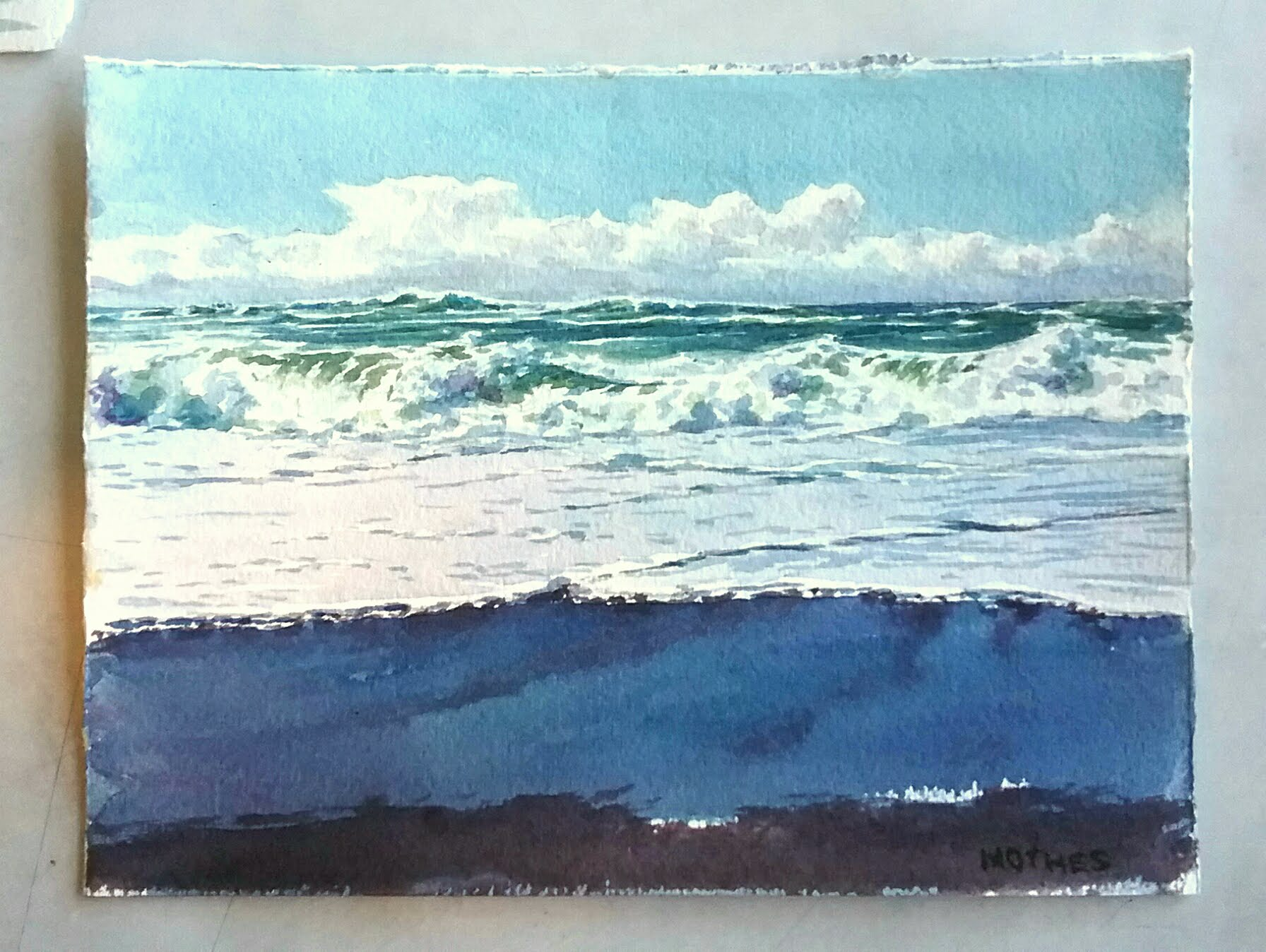 """Study of morning surf...6"""" by 8"""" watercolor"""
