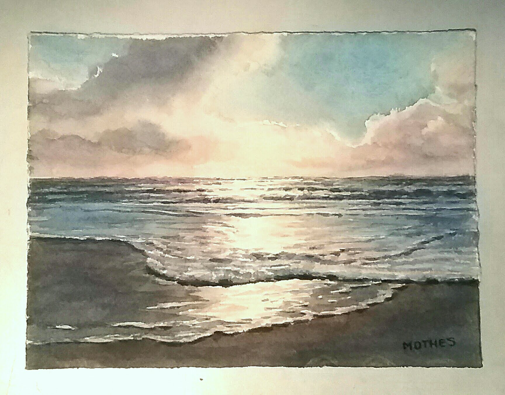"""Study of evening surf and clouds...6"""" by 8"""" watercolor"""