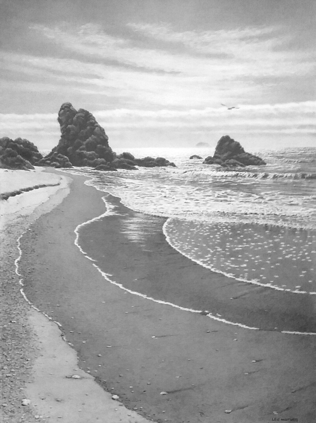 """Sand Patterns,  30"""" by 22"""" Graphite on rag paper, 2018 - on display at my Open Studio show."""