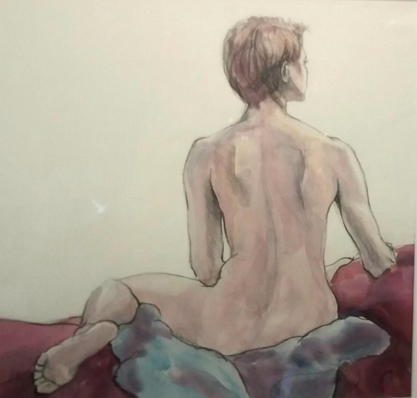 Figure in watercolor and graphite pencil