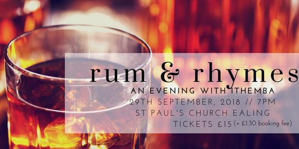 29th September - Justina Kehinde hosts an evening with iThemba Projects in their 2nd annual fundraiser 'Rum and Rhymes'. A night of live music, afro-fusion cuisine and rum tasting in aid of iThemba's work in the rural community of Sweetwaters, South Africa.Tickets