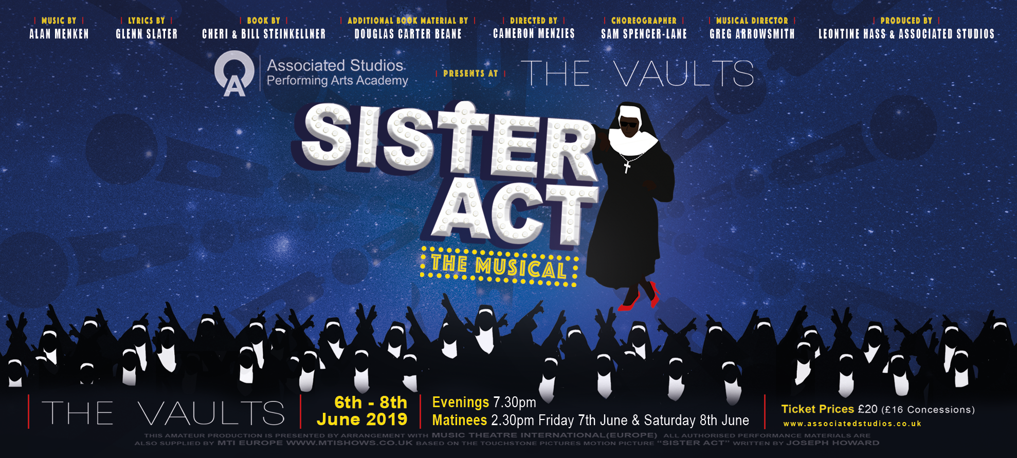 6-8th June - Justina Kehinde stars in Associated Studios production of Sister Act the Musical. Vaults Theatre, London. Tickets