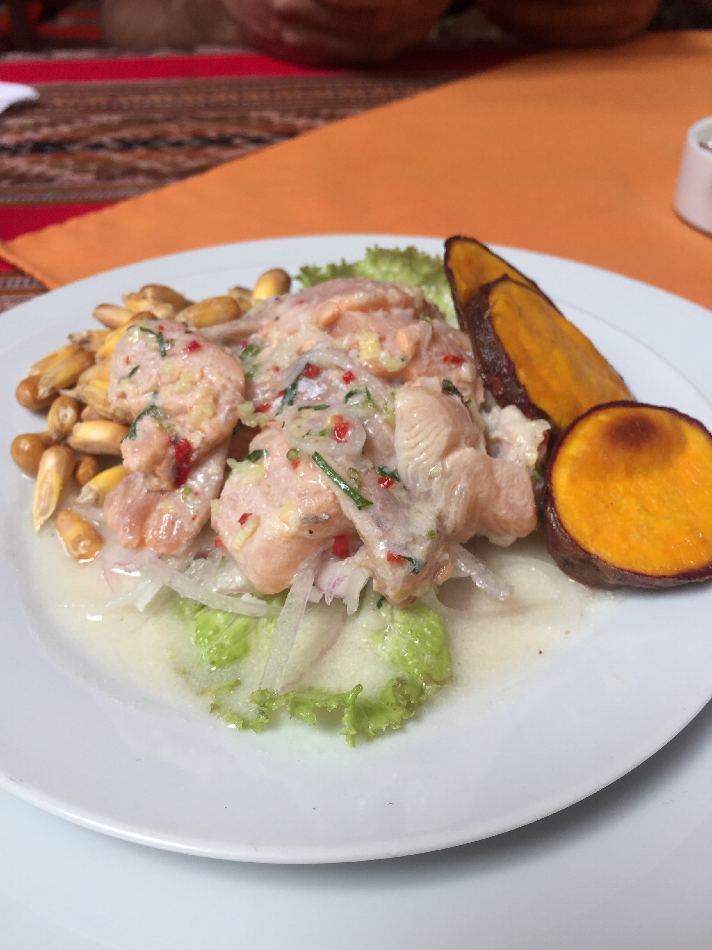 Good old ceviche with canchita. You can never go wrong with this.