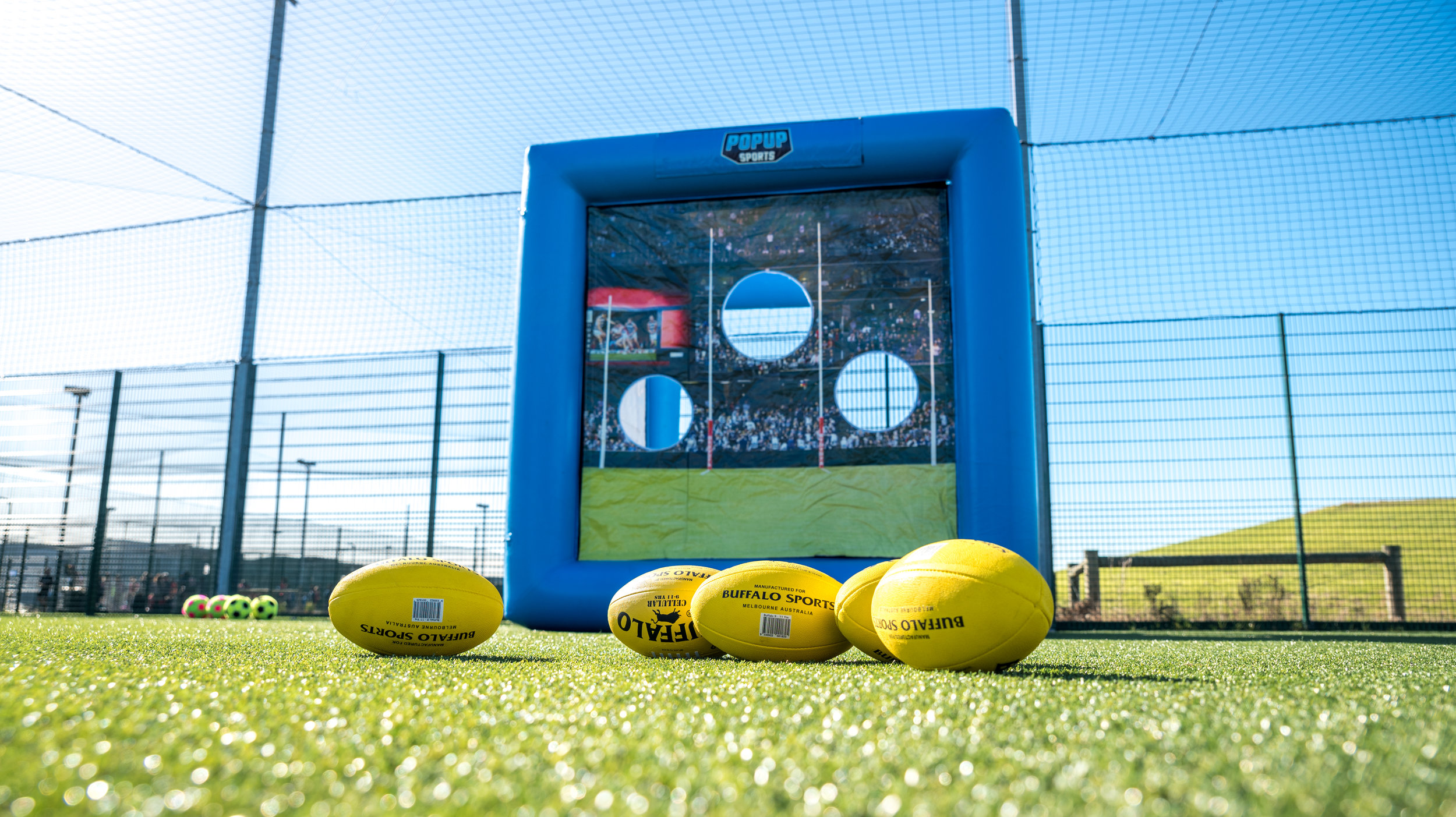 Junior footy players can work on their kicking accuracy with this fun goal challenge.