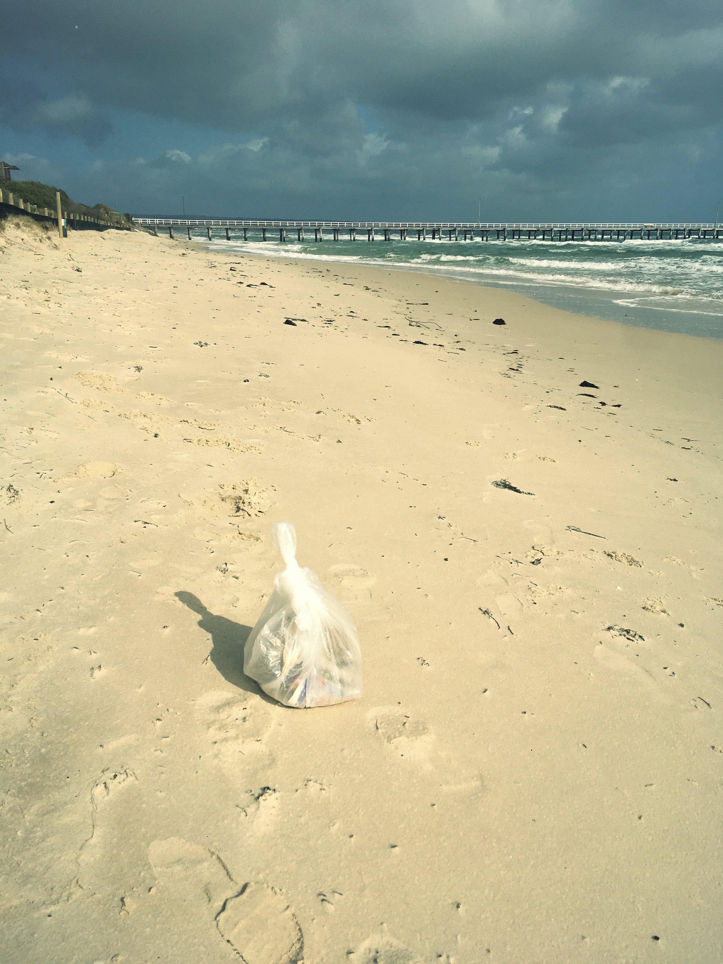 RUBBISH COLLECTED AT SEAFORD BEACH, VICTORIA, AUSTRALIA