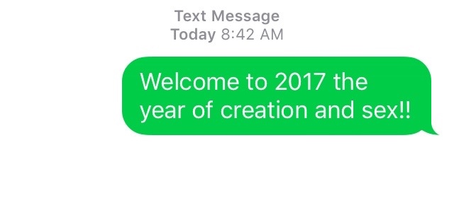 Actual text sent on New Years Day 1/1/2017