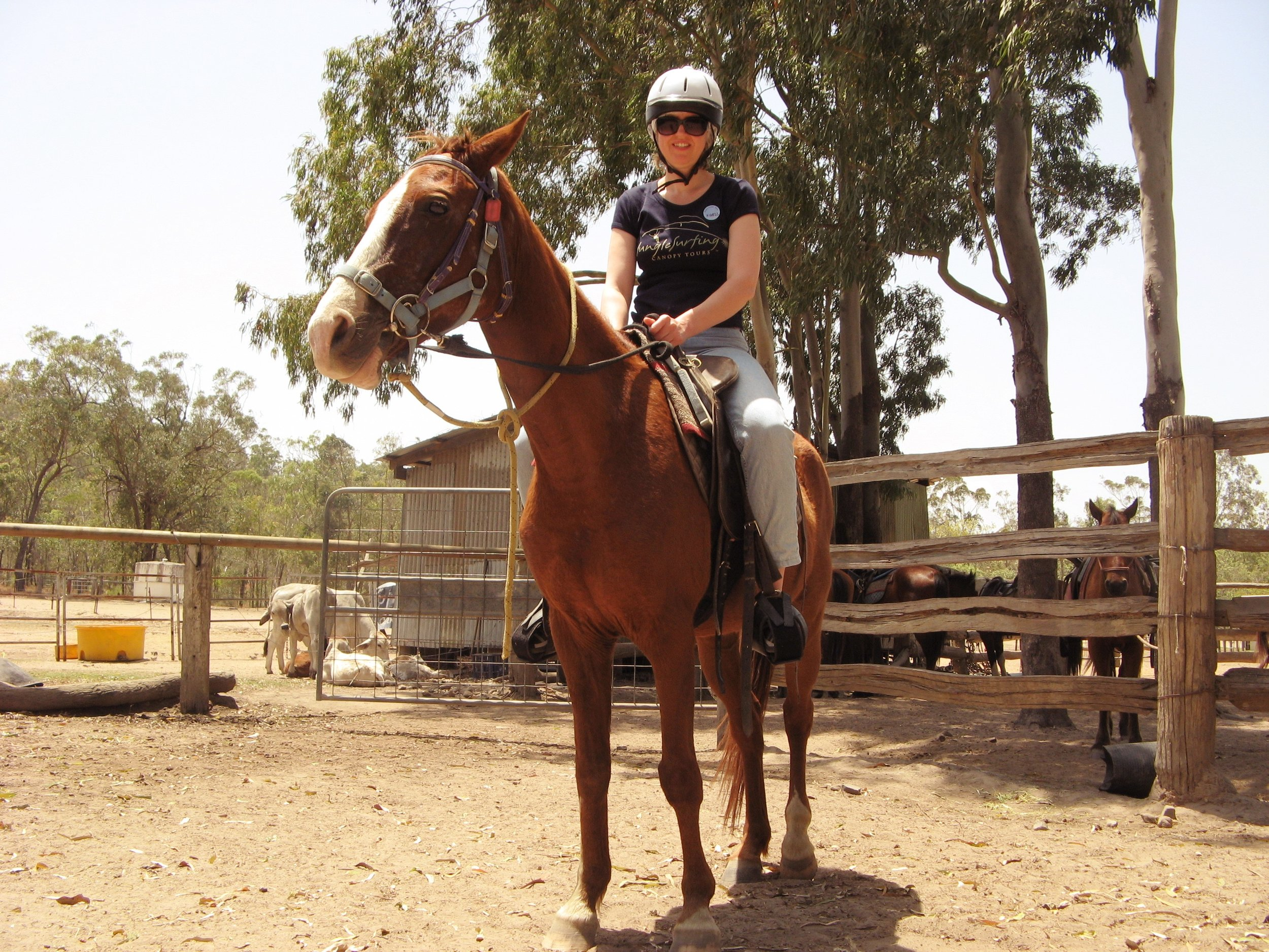 EMMA-JANE READY FOR A RIDING SESSION. THIS WAS THE FIRST TIME ON A HORSE IN MANY YEARS. CAIRNS, QLD, AUSTRALIA OCTOBER, 2008