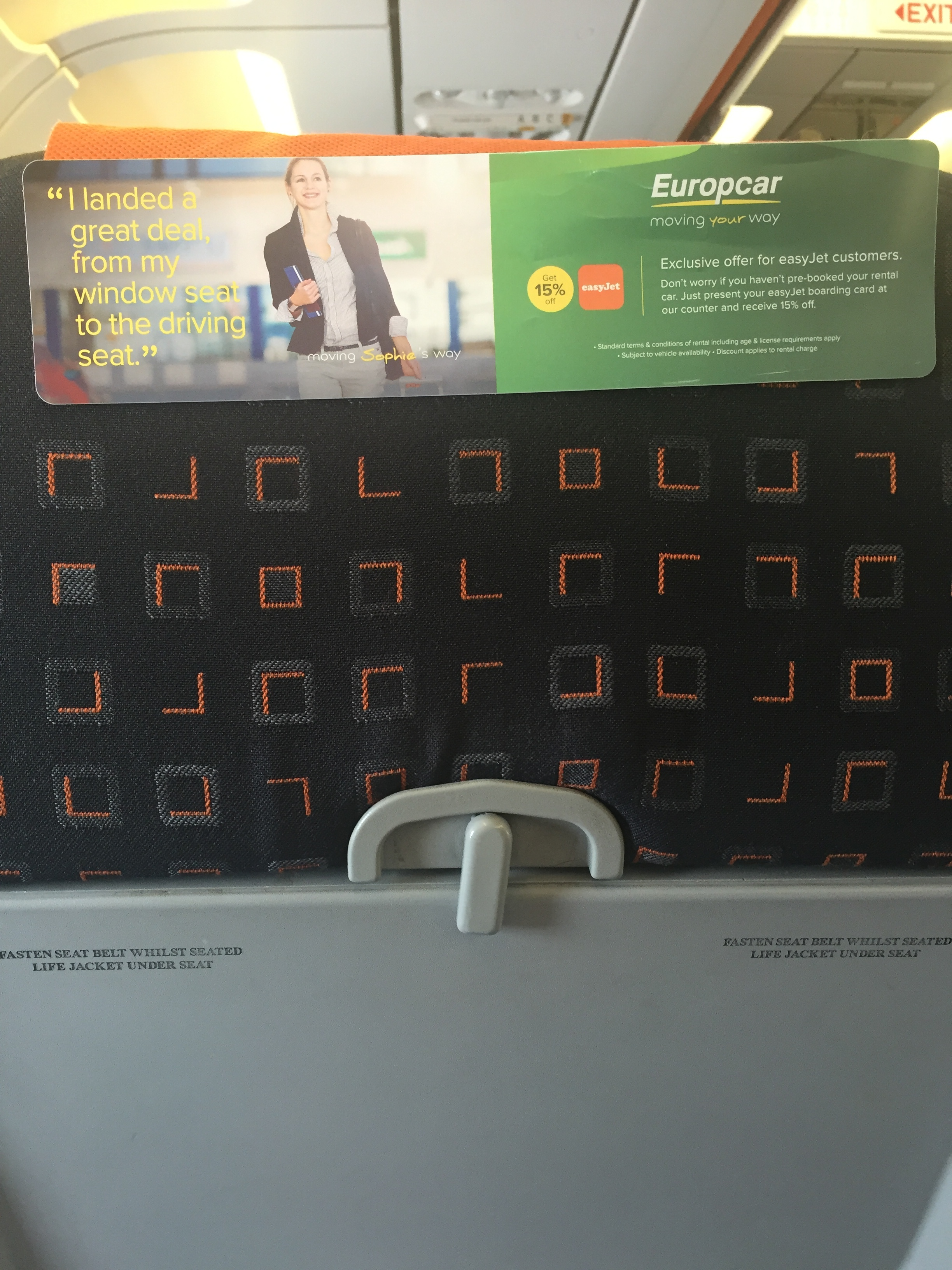 A photo of my seat on my recent trip to London.