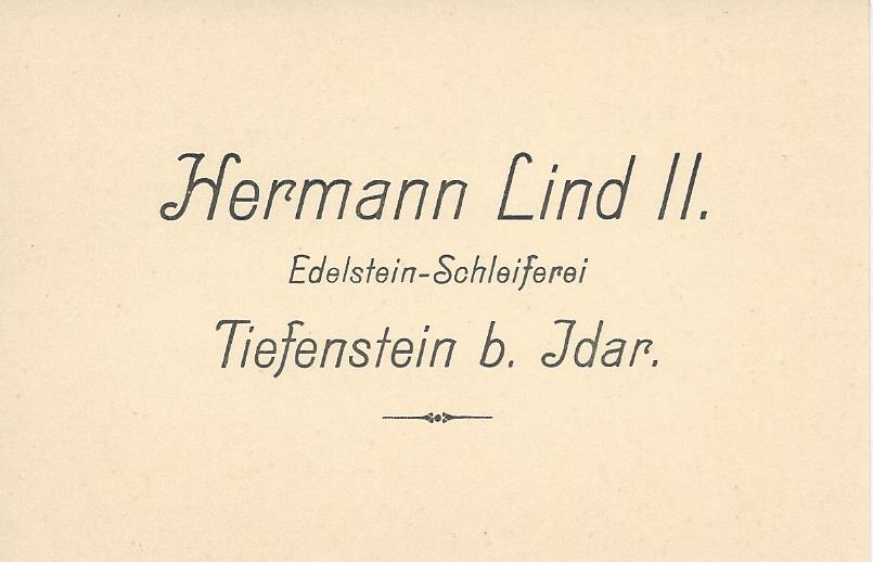 First business card of Hermann Lind II in the 1920's