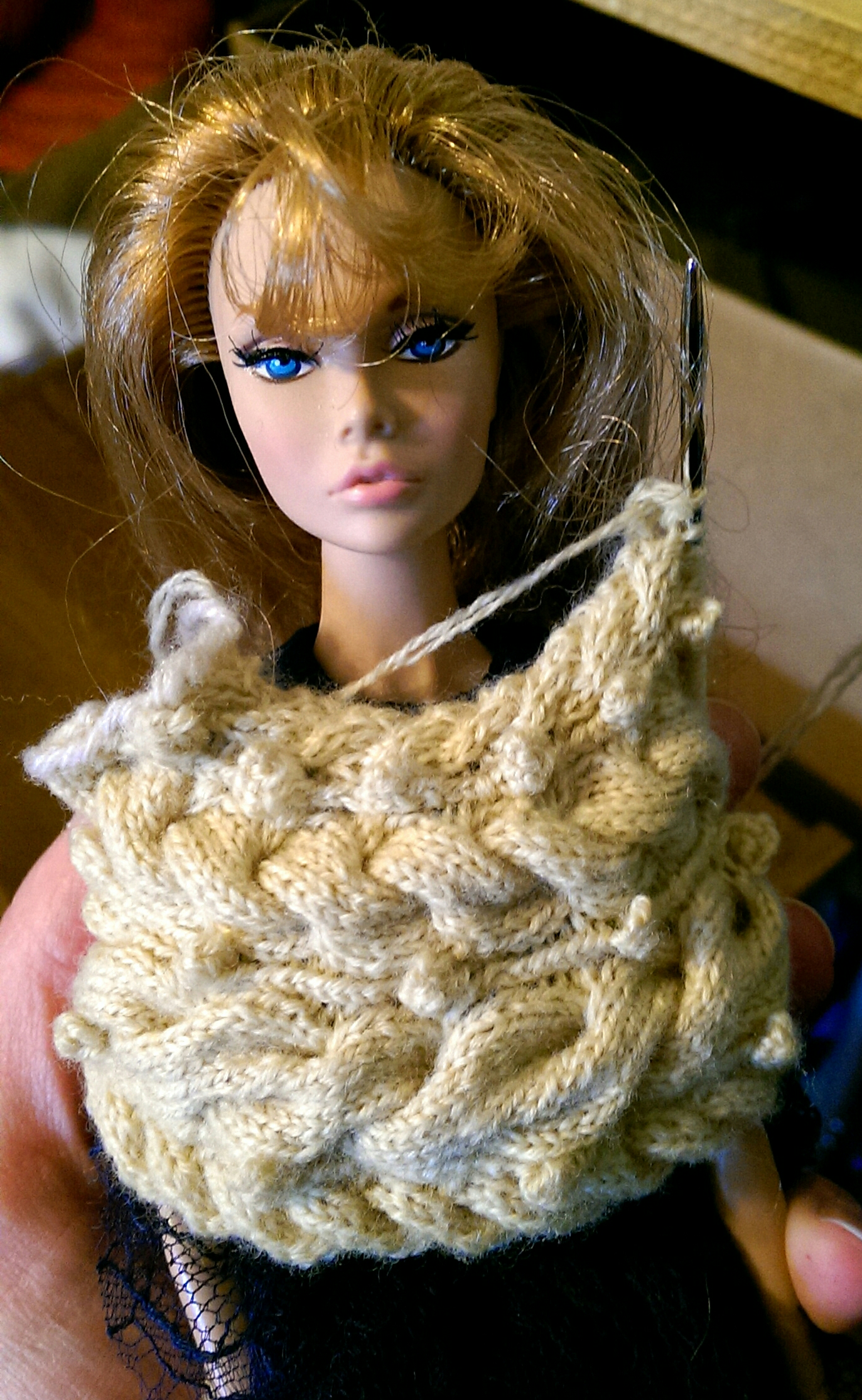 """The finished front section held up against my 12"""" Fashion Royalty Poppy Parker doll."""