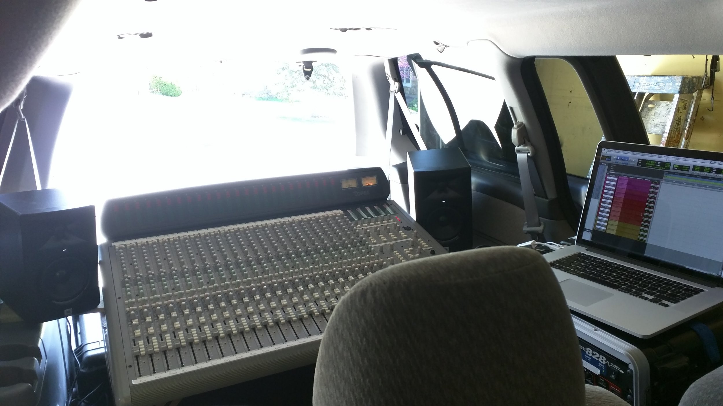 Mobile recording studio in a van for a jr high jazz band live recording