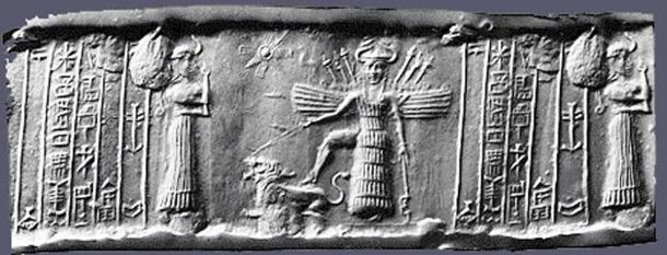 Cylinder Seal depicting the descent of Inanna | Public Domain | Sourced via ancient-origins.net | University of Chicago