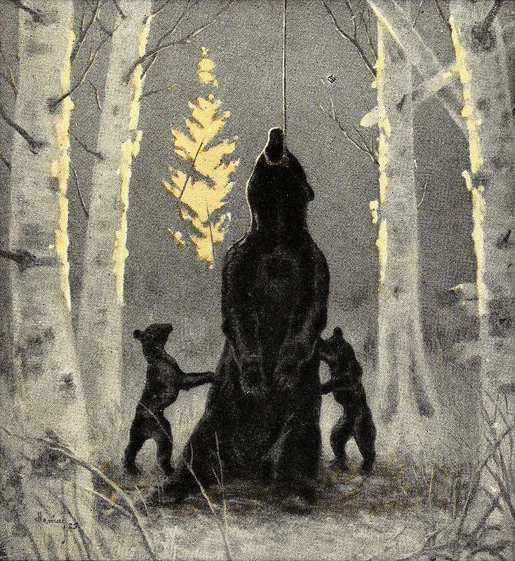 Oil painting |used as an illustration for  The Living Forest |1925 | sourced via publicdomainreview.org