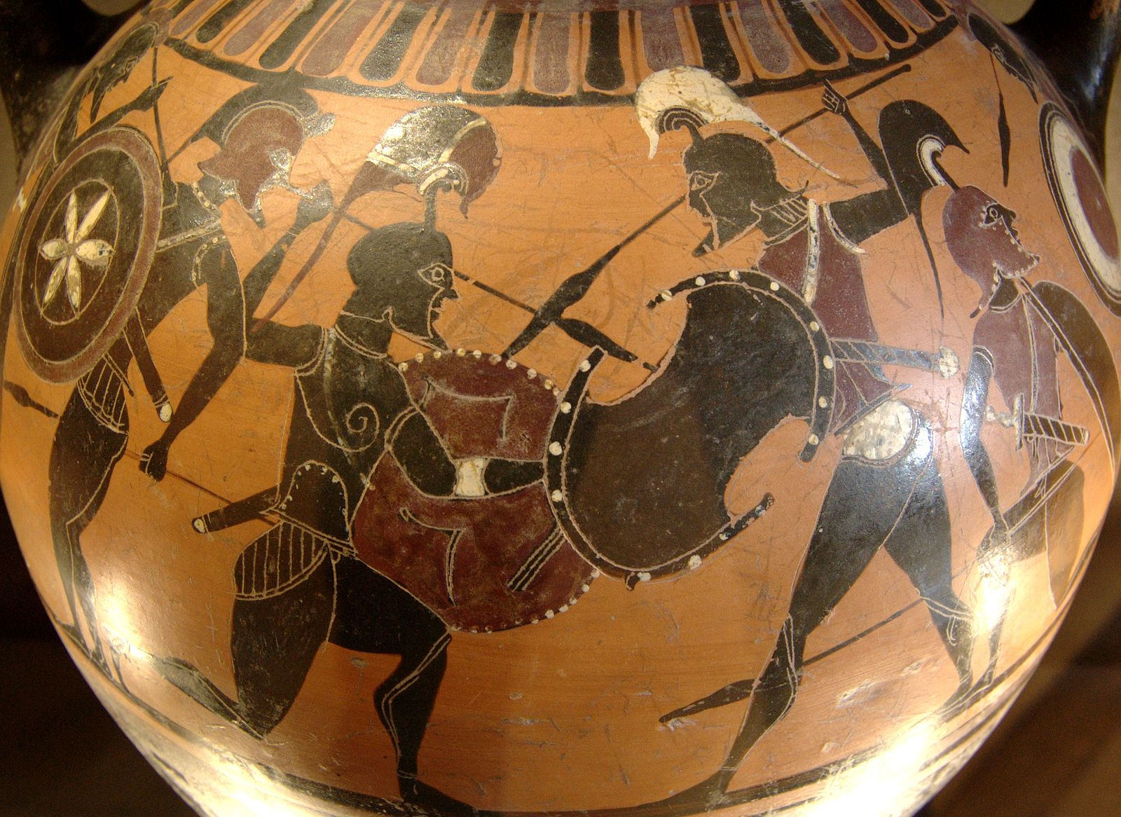 Prometheus Painter | Warriors. Side B from an Attic black-figure amphora, ca. 570–565 BC. | sourced via Wikimedia Commons