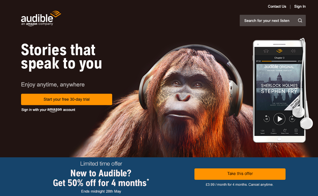 "Audible are very clever with their marketing - They are the 800 lb orangutan in the room.In addition to the promo codes they also have a bounty referral program, where if someone uses the personalized URLs they give you (one each for UK, US, FR & DE) to purchase their first audiobook, you earn ""up to"" $75 if they stay for two billing cycles."