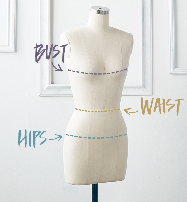 "BUST: Measure under your arms, around the fullest part of your bust with only the bra you intend to wear with your dress.  (Please note that your bra size is not the same as your bust measurement)  NATURAL WAIST: Measure around your natural waistline.  Bend to the side to find the natural crease or your waist, measure at this point.  (Approximately 2"" above your belly button)  HIPS: Measure around the fullest part of your hips and rear.  (Approximately 9"" down from your waist measurement)   NOTE:    It is customary for most people to have minor alterations to get a perfect fit. If you are unsure about which size to order, please call or email to discuss your sizing with one of our consultants."