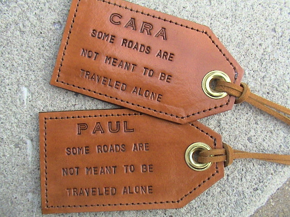 Personalized luggage tags are a fabulous gift idea, especially if the couple is still using airport paper luggage tags