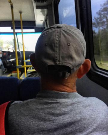 """""""Dad meets bus."""""""