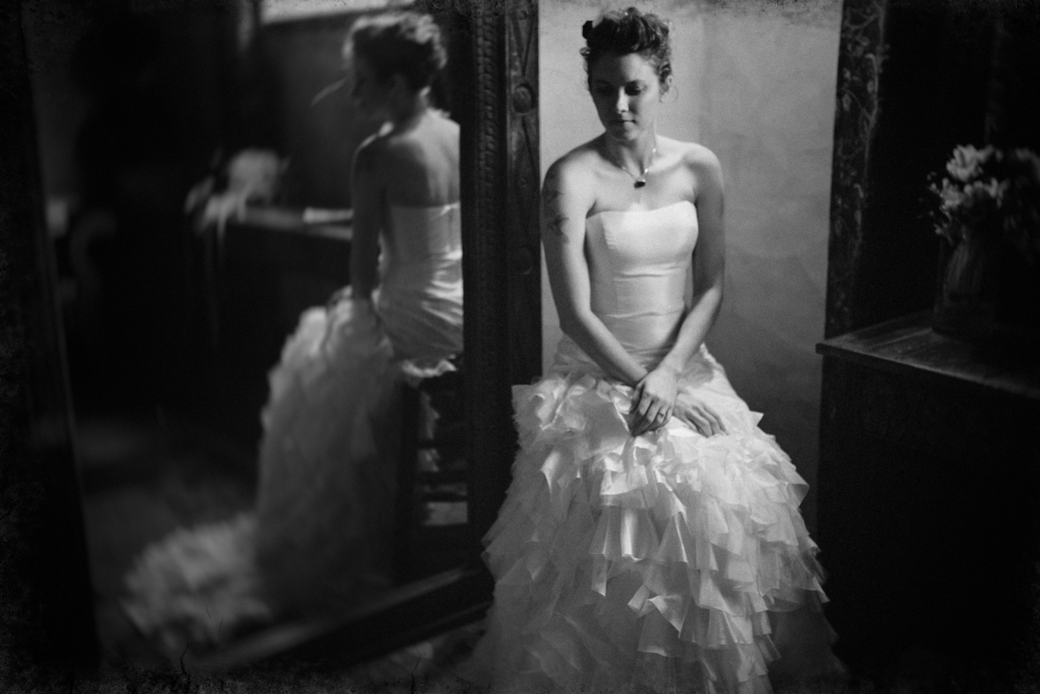 Mirror bridal portrait