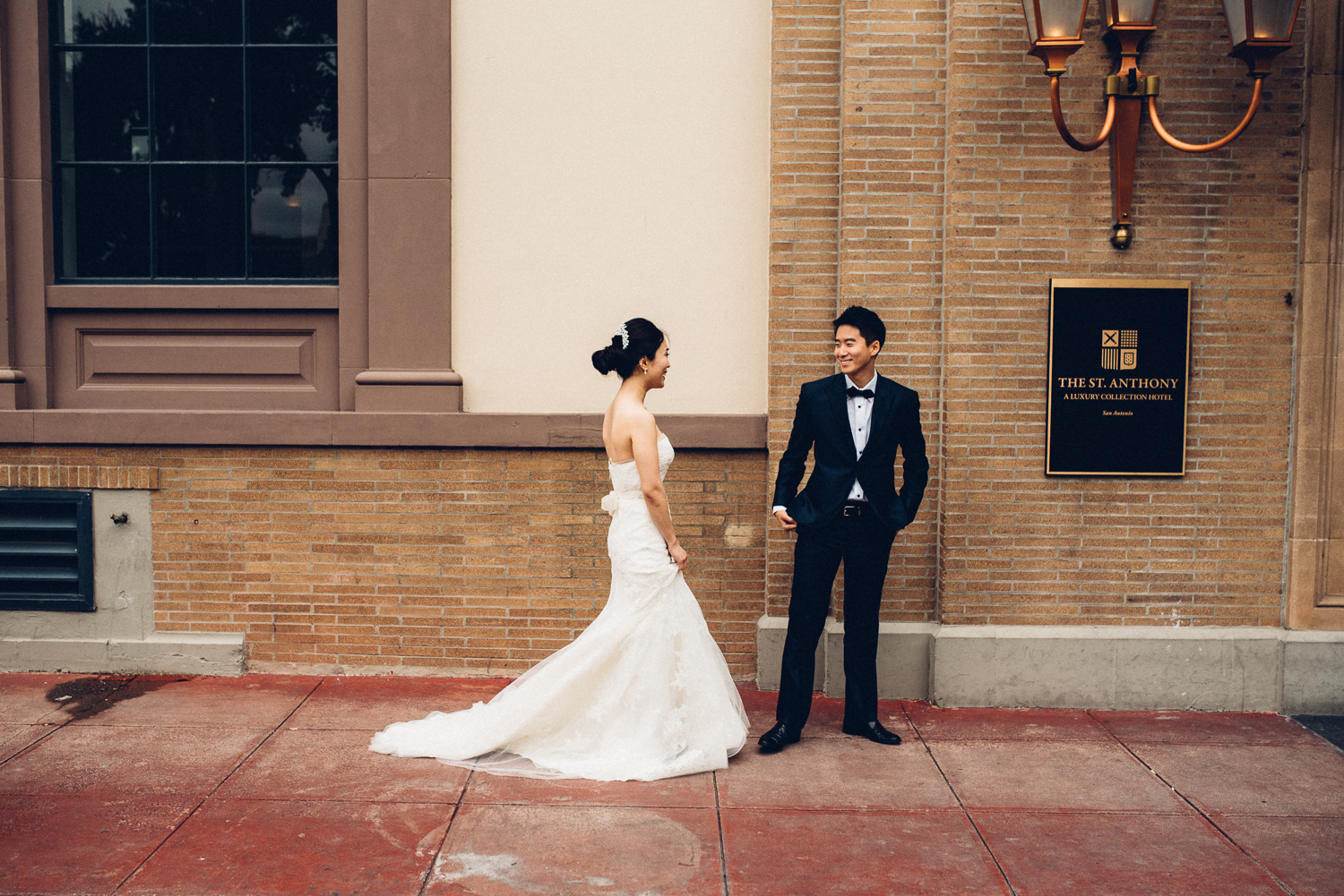 First Look St Anthony Hotel Wedding