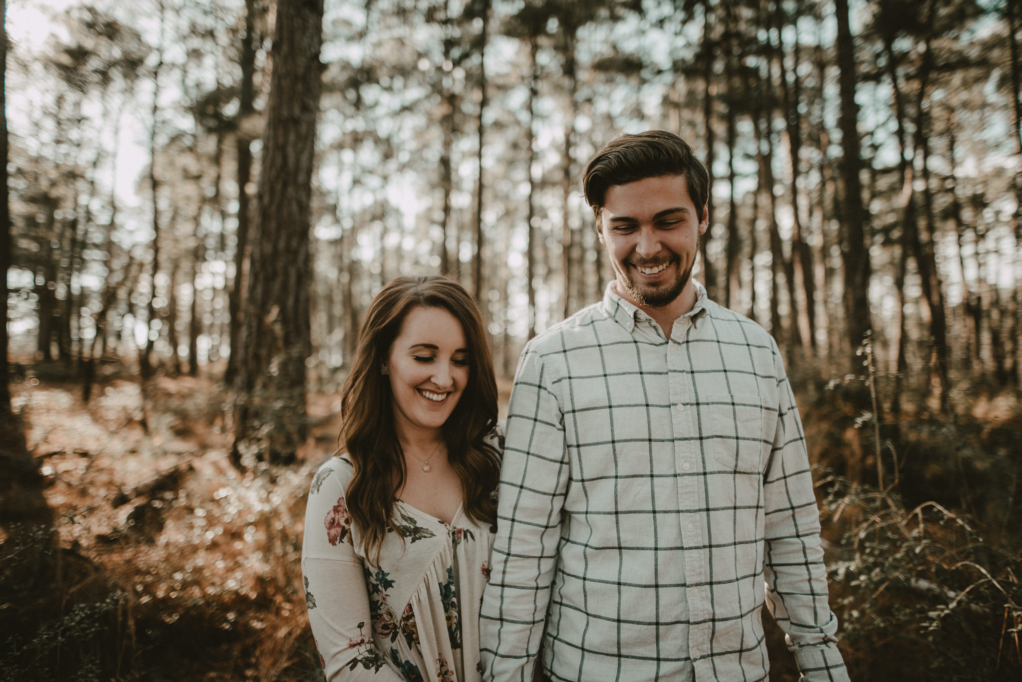Engagement photos in the texas piney woods